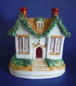 Unusual 19th Century Staffordshire Pottery Cottage Moneybox c1870